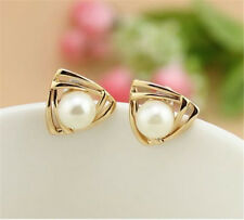 Hot Women triangle Fashion Gold Filled Freshwater Pearl Stud Earrings Gift