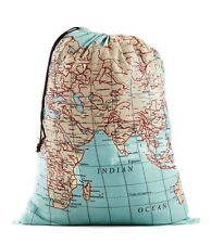 Kikkerland World Map Atlas Design Travel Laundry Bag Uni Travelling Washing Bag