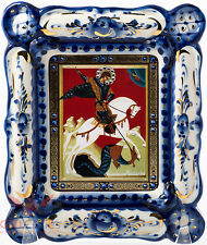 Russia Porcelain wooden Gzhel Christian Icon of Saint George Георгий Победоносец
