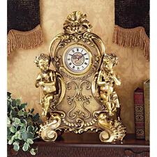 Baroque French Rococo Style Roman Numeral Cherub Desk Table Study Clock