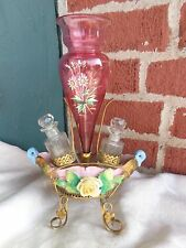 ANTIQUE VICTORIAN FRENCH ROSE GLASS CRANBERRY EPERGNE PERFUME BOTTLE ORMOLU