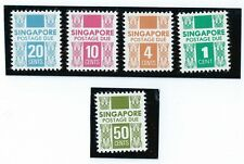 stamps- 1983-1988 Singapore Postage Due set 5v unwatermark MNH OG