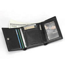 Men Leather Business Thin Trifold Hybrid Foldout ID Card Case Wallet Coin Purse