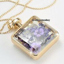 Hot Xmas Gifts For Her - Purple Flowers Necklace Gold Girlfriend Love Wife Women