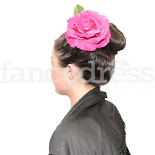 Large Cerise Pink Spanish Flamenco Feria Hair Flower Dance Rose Corsage Fancy Dr