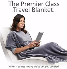 "Wrap™ Travelrest 4-in-1 Poncho Travel Blanket GREY (38"" x 60"") NEW (repackaged)"