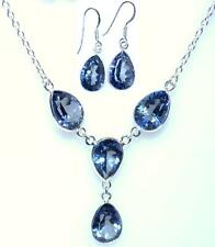 Sterling SILVER SET Mystic Blue Quartz Necklace Earrings Genuine 925 Jewelry Set