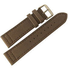 22mm EULIT Brown Canvas Made in Germany Mens Watch Band Strap