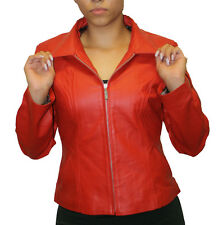 Women's soft genuine leather short zipper closure fitted jacket style # 315