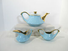 Teapot Creamer Sugar Retro Mid Century Pearl China Turquoise Gold Arabian Nights