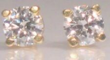 Round Brilliant Diamond Solitaire Post Stud Earrings Yellow Gold or Platinum