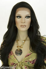 Ash Black Brunette Long Lace Front Wavy Straight Wigs