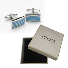 Mens Rectangular Blue Stripe Cufflinks & Gift Box By Onyx Art