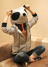 Fashion Women's Jacket Cute Panda Ear Zip Up Hoodie Outerwear Sweat Coat