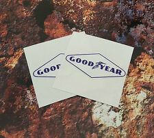 GOODYEAR Blue & White Diamond Shaped Stickers 65mm Pair F1