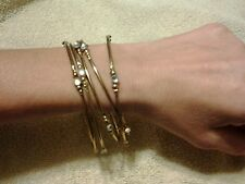 Set of Cute Vintage Thin Bangles Arm Bracelets With Rhinestone Accents- Vintage