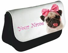 Personalised girls ladies Cute pug  pink bow Pencil Case make up bag school