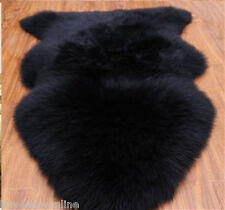 Real Australian Single One Pelt Sheepskin Black 2'x3' Rug Bedroom black fur rug
