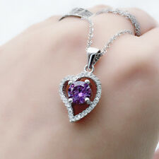 Fashion Sterling Silver White Gold Plated Crystal Heart Pendant Chain Necklace