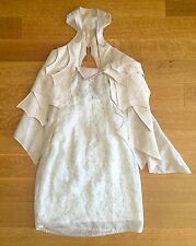 Givenchy White/nude/beige Lace Organza Overlay & Leather Mini Dress Sz 36