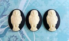 40x30mm Owl Cameos (3) - L661 Jewelry Finding