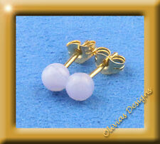 18 Kt Gold 750 Ohrstecker, 4mm Blau Lace Achat