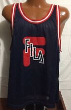 VTG 90s XL Fila Basketball Jersey Mesh Tank Top Big Logo Spell Out