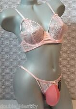 "Crossdress Men Pink Eyelash Lace Sissy Pouch Thong Panty Bra Set 32 - 36"" Med"