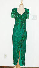 VTG Alyce Designs 1980s Green Gown w/ Hanging Beads Sequins Flapper Size 10 EUC