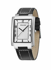 Police 10231MS/04C Men's Quartz Watch Silver Dial and Black Leather Strap