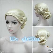 New ladies fashion elegant blonde Braid Cosplay Party full Wigs + Free wig cap