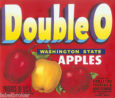 APPLE CRATE LABEL WASHINGTON VINTAGE YAKIMA DOUBLE O RED ORVILLE ORMISTON