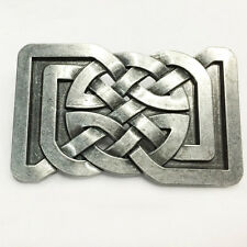 Belt Buckle Celtic Rectangle Silver Man For Black Leather Western