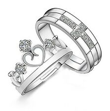 Hot Silver Plated Prince Princess Imperial Crown Adjustable Couple Ring 2 piece