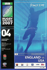 ENGLAND v USA RUGBY WORLD CUP 2007 PROGRAMME