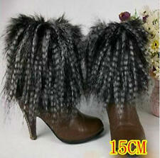 Fashion faux fur funky leg warmers boots cover club dance shoes cover peacock