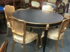 FRENCH STYLE CIRCULAR BLACK EXTENSION DINING TABLE .CARVED LEGS WITH GOLD DETAIL
