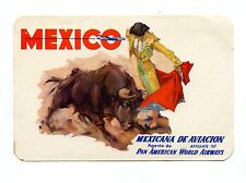 Vintage Airline Luggage Label MEXICANA de Aviacion Pan Am Airlines bull fighter