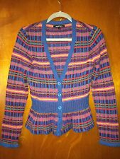 NANETTE LEPORE Wool Sweater Cardigan Sz Small Peplum Striped Multi Color EUC