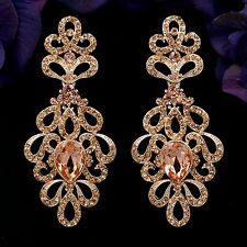 Rose Gold Plated Peach Crystal Rhinestone Wedding Drop Dangle Earrings 08907 New