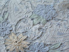 Vtg Antique Madeira Embroidered Color Cutwork Sheet Pillowcase Set NWT Clean