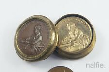 ANTIQUE ENGLISH COPPER & BRASS BOX 4 x KEEP YOUR TEMPER COINS / TOKENS c1800's