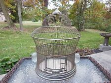 Vintage Hendrix Cathedral Dome Beehive Bird Cage with Original Glass Feeders