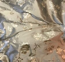 """Printed Silk SHANTUNG Fabric - Taupe & Gold Floral  54"""" by the yard"""