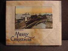 Vintage 1920-30s Parchment CHRISTMAS CARD w/Real Chesapeake Bay Photo Tipped-In