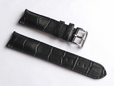 Quality Lug 22mm Black Genuine Leather Alligator Strap Replacement SEIKO