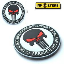 Patch in PVC Teschio SNIPER Punisher Navy Seals 8 cm Militare Softair con Velcro