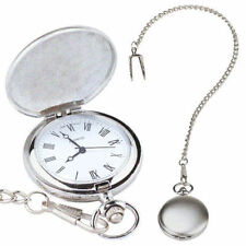 Silver Colour Pocket Watch On Chain - Antique Style Traditional Time Piece