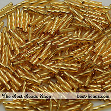 25g Silver Lined Gold Twisted Bugle Beads 11mm Preciosa Czech Glass Seed Beads