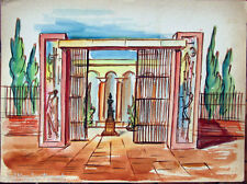 Acquerello '900 su carta Watercolor Architettura futurista cubista razionale-112